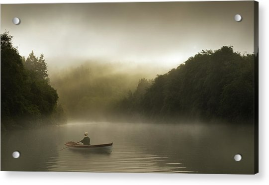 Misty Morning Row On A Forested River Acrylic Print by Justin Lewis