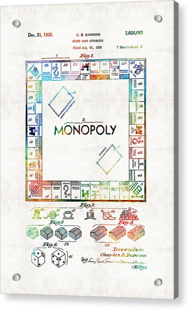 Monopoly Game Board Vintage Patent Art - Sharon Cummings Acrylic Print
