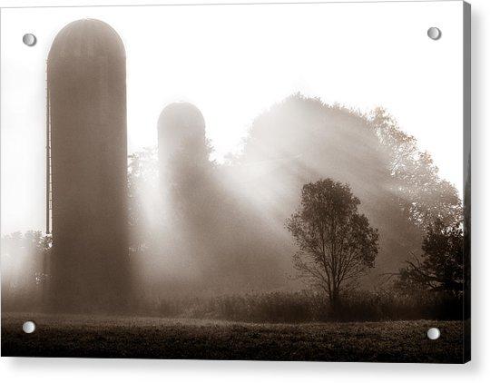 Morning Fog Burning Off The Farm Acrylic Print