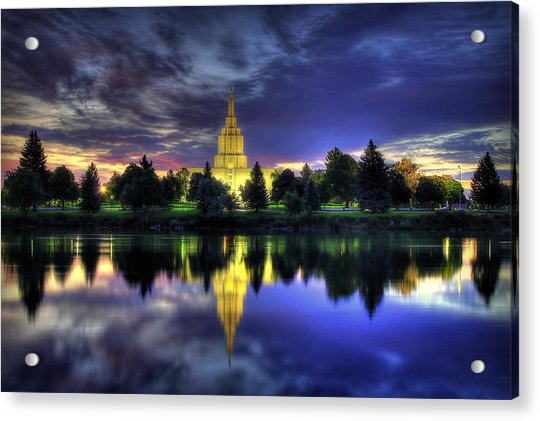 Morning Reflections Of Idaho Falls Temple  Acrylic Print