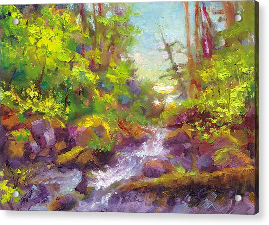 Acrylic Print featuring the painting Mother's Day Oasis - Woodland River by Talya Johnson