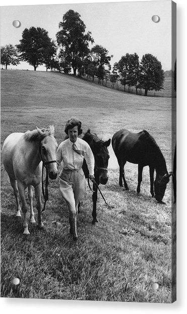 Mrs John West On Her Farm At Malvern Acrylic Print