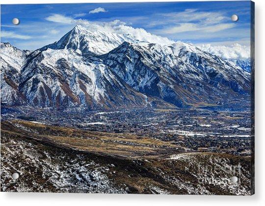 Mt. Timpanogos In Winter From Utah Valley Acrylic Print