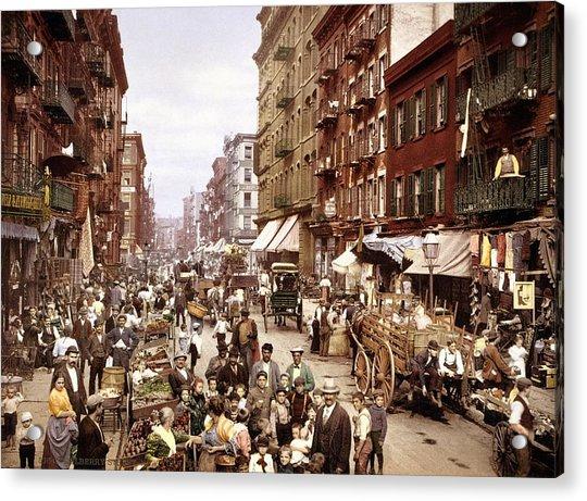 Mulberry Street, New York, Circa 1900 Acrylic Print