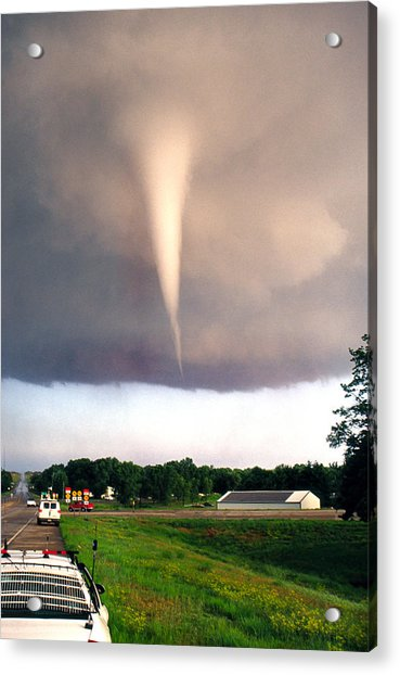 Acrylic Print featuring the photograph Mulvane Tornado With Storm Chasers by Jason Politte