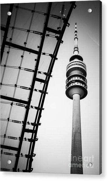 Munich - Olympiaturm And The Roof - Bw Acrylic Print