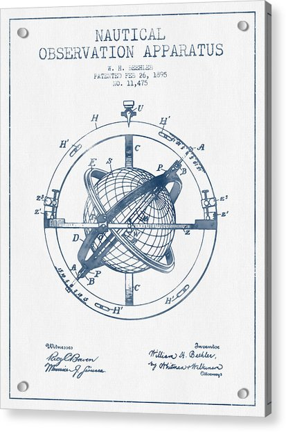 Nautical Observation Apparatus Patent From 1895  -  Blue Ink Acrylic Print