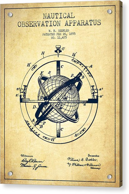 Nautical Observation Apparatus Patent From 1895 - Vintage Acrylic Print