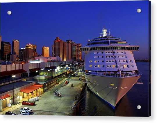 Acrylic Print featuring the photograph New Orleans Skyline With The Voyager Of The Seas by Jason Politte