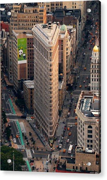 New York City Flatiron Building Aerial View In Manhattan Acrylic Print
