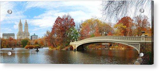 New York City Manhattan Central Park Panorama At Autumn Acrylic Print