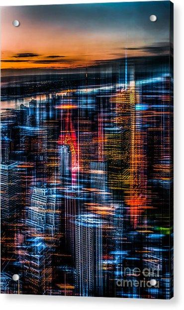 New York- The Night Awakes - Orange Acrylic Print