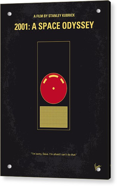 No003 My 2001 A Space Odyssey 2000 Minimal Movie Poster Acrylic Print