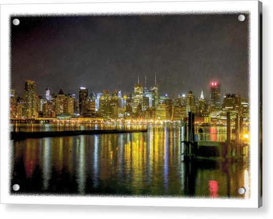 Nyc At Night Faux Oil Acrylic Print