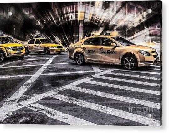 Nyc Yellow Cab On 5th Street - White Acrylic Print