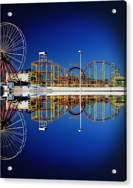 Ocean City Amusement Pier Reflections Acrylic Print