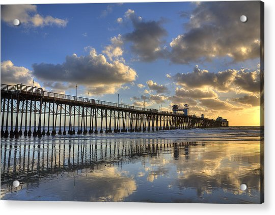 Oceanside Pier Sunset Reflection Acrylic Print