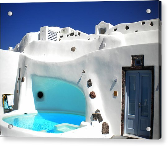 Acrylic Print featuring the photograph Oia Santorini  With Direct View To The Oceon Greece by Colette V Hera  Guggenheim