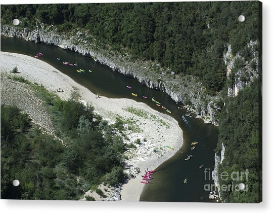 oing down Ardeche River on canoe. Ardeche. France Acrylic Print