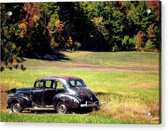 Old Car In A Meadow Acrylic Print
