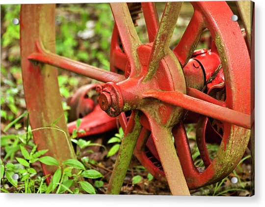 Acrylic Print featuring the photograph Old Farm Tractor Wheel by Carolyn Marshall