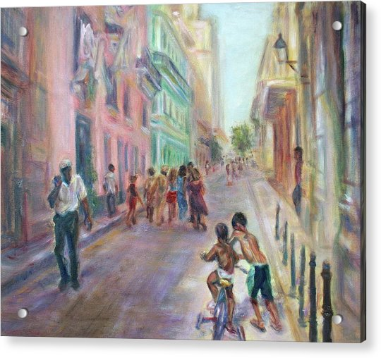 Old Havana Street Life - Sale - Large Scenic Cityscape Painting Acrylic Print