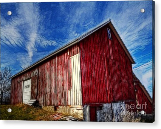Old Red Wooden Barn Acrylic Print