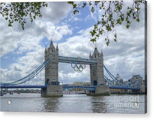 Olympic Rings On Tower Bridge Acrylic Print
