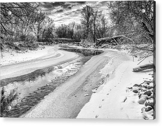 On The Riverbank Bw Acrylic Print