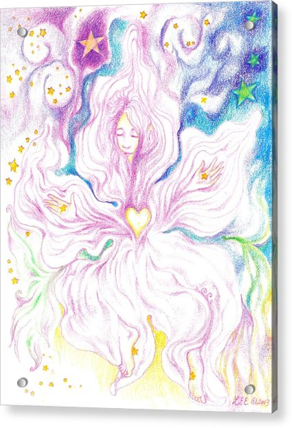 Opening And Blossoming   Dreaming The World Into Being   As She Dances In The Stars Acrylic Print by Lydia Erickson