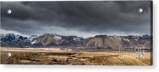 Oquirrh Mountains Winter Storm Panorama 2 - Utah Acrylic Print