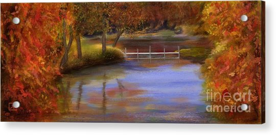 Orange Autumn Colors Reflected In Water  Acrylic Print by Judy Filarecki