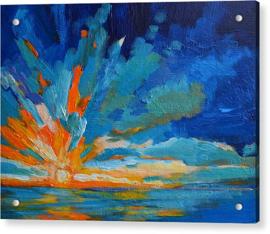 Orange Blue Sunset Landscape Acrylic Print