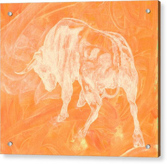 Orange Bull Negative Acrylic Print