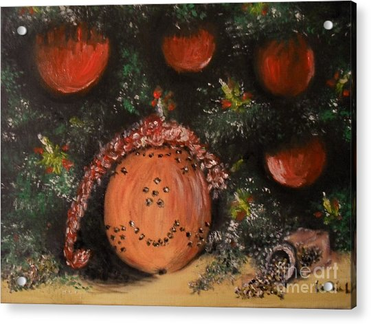 Acrylic Print featuring the painting Orange Clover Christmas by Laurie Lundquist