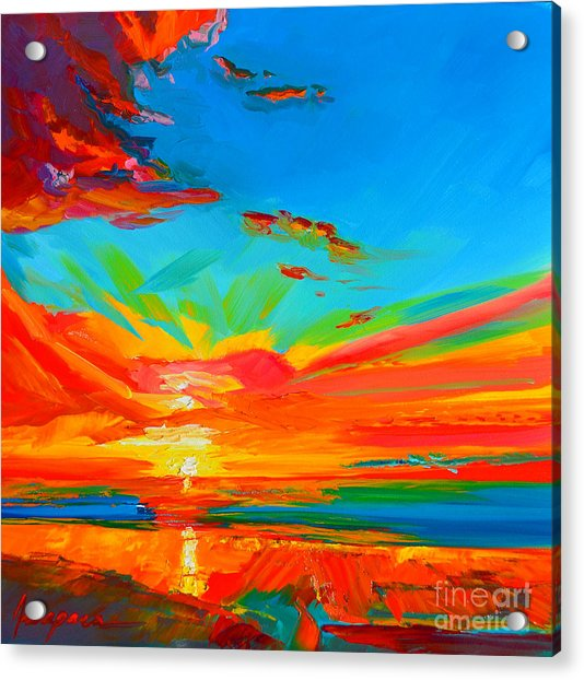 Orange Sunset Landscape Acrylic Print