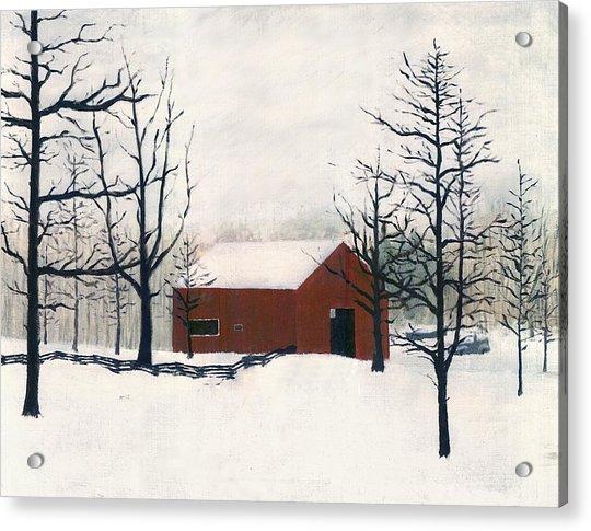 Original Painting Red Barn Snow Maryland Acrylic Print
