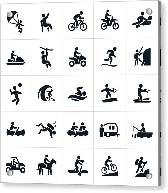 Outdoor Summer Recreation Icons Acrylic Print by Appleuzr