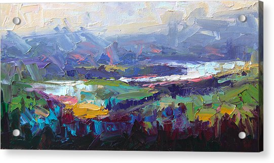 Acrylic Print featuring the painting Overlook Abstract Landscape by Talya Johnson