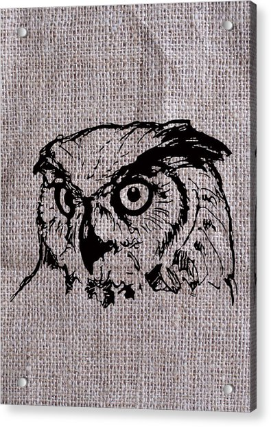 Owl On Burlap Acrylic Print