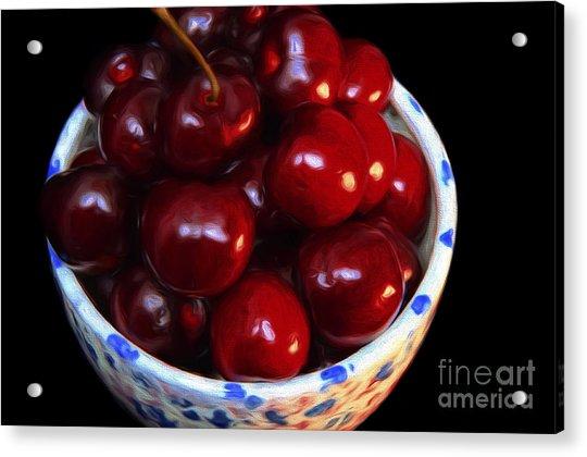 Painterly Bowl Of Cherries Acrylic Print