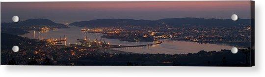 Panorama Of Ferrol From Mount Marraxon Galicia Spain Acrylic Print