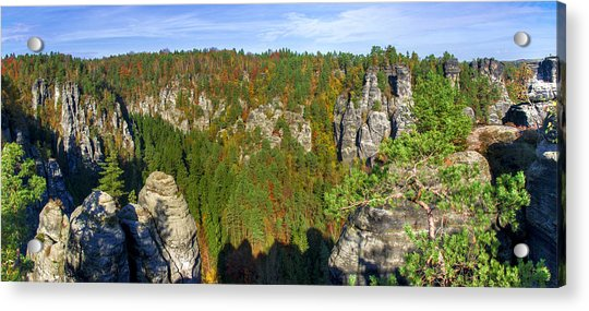 Panoramic View Of The Elbe Sandstone Mountains Acrylic Print