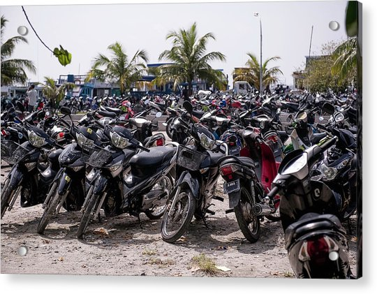 Parking For Motorbikes, Male, Maldives Acrylic Print