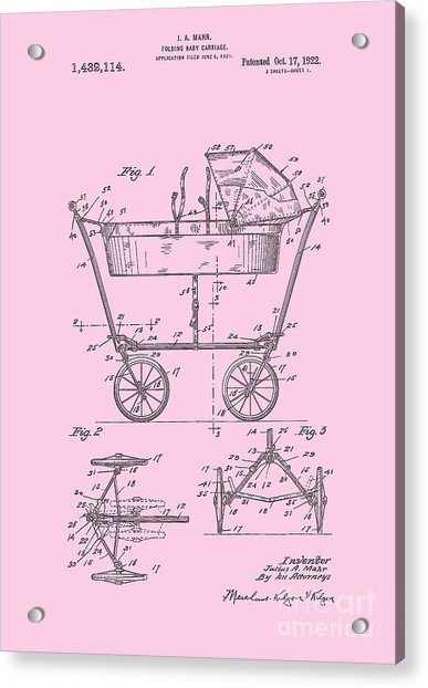 Patent Art Baby Carriage 1922 Mahr Design Pink Acrylic Print