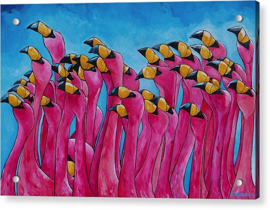Peace Love And Flamingos Acrylic Print