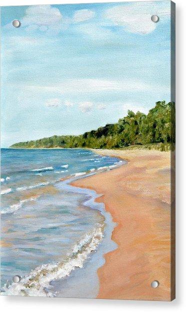 Peaceful Beach At Pier Cove Acrylic Print