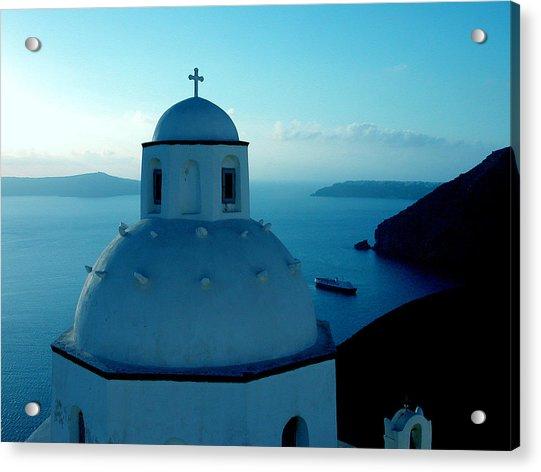 Acrylic Print featuring the photograph Peacefull Santorini Greek Island  by Colette V Hera  Guggenheim