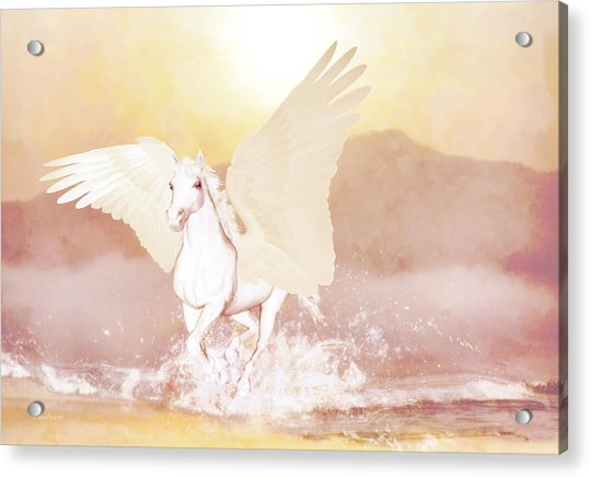 Acrylic Print featuring the painting Pegasus   by Valerie Anne Kelly