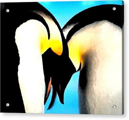 Acrylic Print featuring the painting Penquin Love Dance by Colette V Hera  Guggenheim